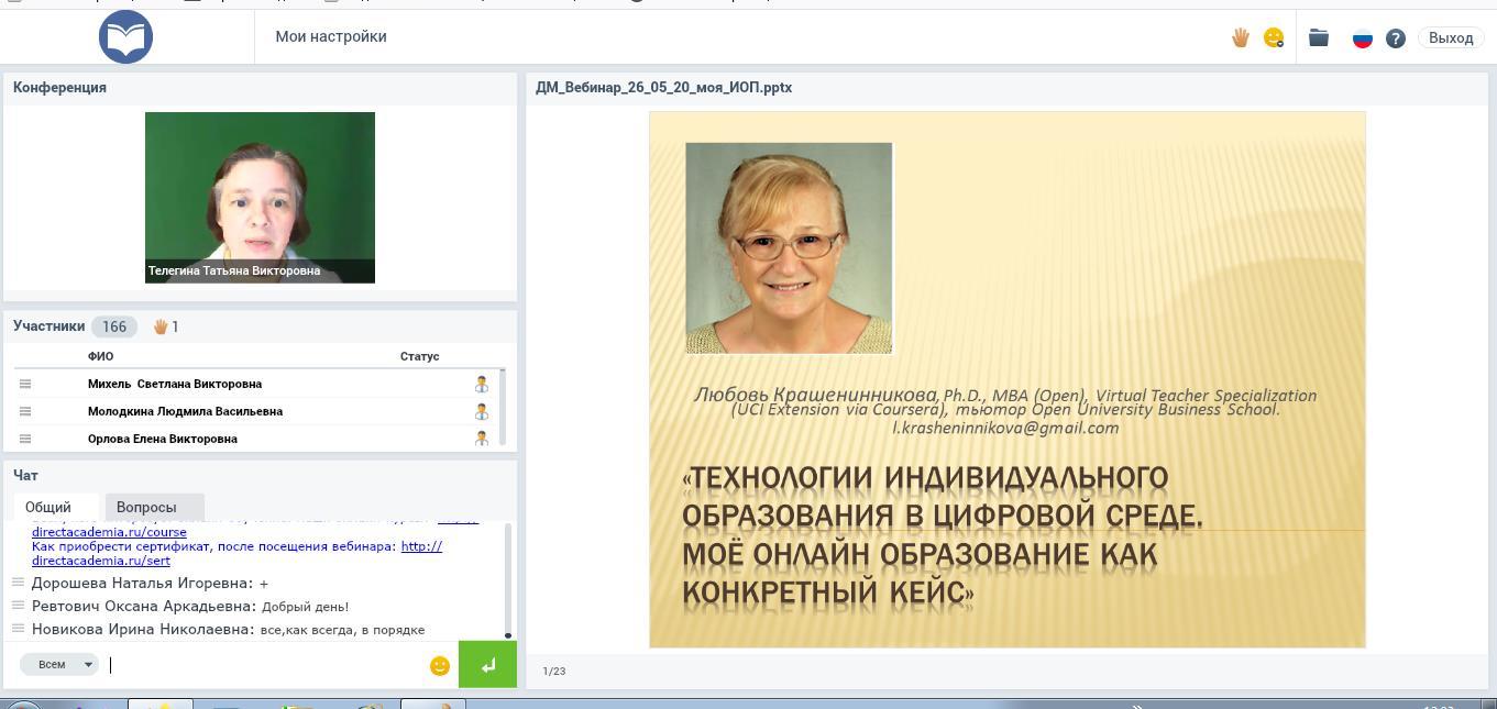 Технологии индивидуального образования в цифровой среде. мое онлайн образование как конкретный кейс
